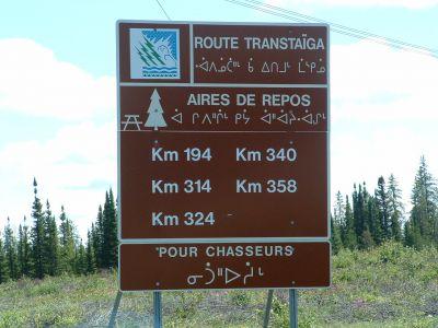Trans-Taiga Road sign