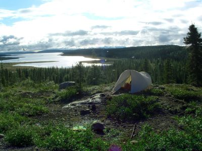 Our campsite above Caniapiscau Reservoir/Lac Brisay